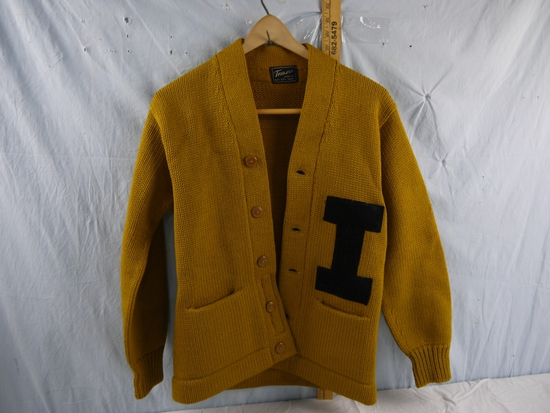 """Iowa gold letter sweater   """"Ken Steinbeck"""" embroidered on inside"""