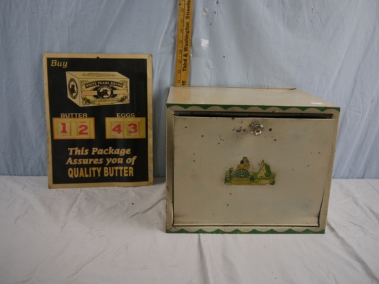 """Metal bread box 13-1/2"""" x 10"""" x 11"""" (door is bent) and White Pearl price poster"""