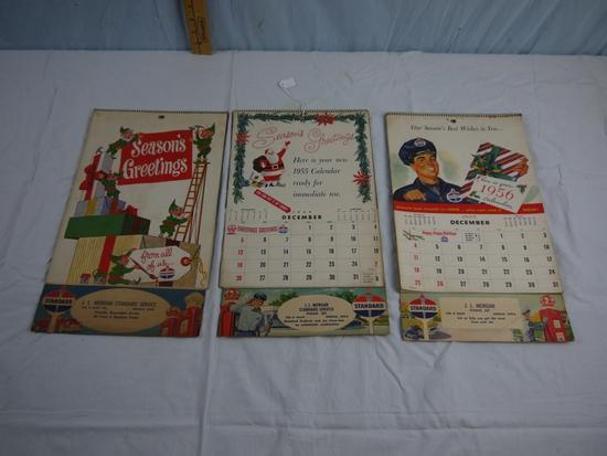 3 calendars - 1954, 1955 1956 - J.L. Morgan Standard Service - Keokuk, Iowa