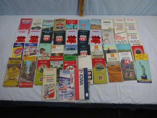 43 road maps - gas & oil advertising