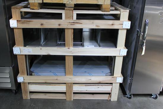 "NEW STAINLESS STEEL 48"" TABLE WITH SHELF AND PACKAGING DIVIDERS"