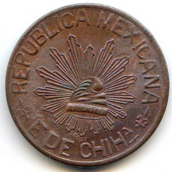 Mexico/Chihuahua 1914 5 centavos toned UNC