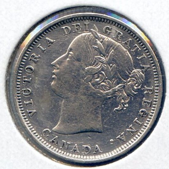 Canada 1858 silver 20 cents good VF details
