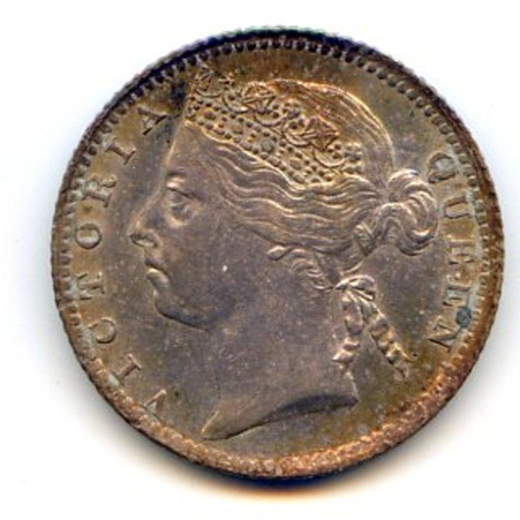 Straits Settlements 1900 silver 10 cents toned UNC