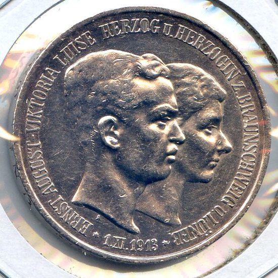 Germany/Brunswick-Wolfenbuttel 1915-A silver 3 marks XF/AU SCARCE