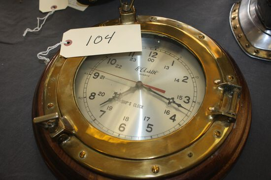 """BRASS BOUND SHIP CLOCK WITH BATTERY OPERATED LECLAIRE CLOCK, 13 3/4"""" DIAMETER"""