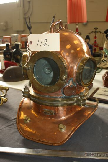 """RUSSIAN NAVY SPECIAL FORCES """"DIVERSSANT"""" COPPER DIVING HELMET WITH FRONT & DUAL SIDE WINDOWS WITH RU"""