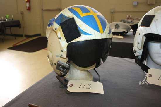 """HELICOPTER PILOT HELMET FROM THE """"CARL VINCENT"""", CIRCA 1970S"""
