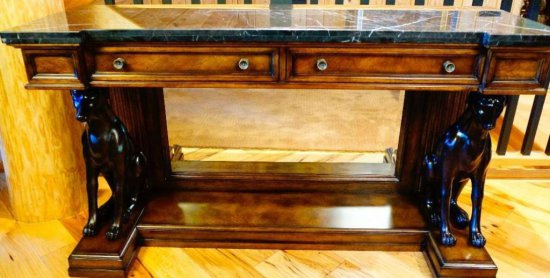 Credenza Table with Mirror and Whippets at Base
