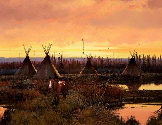 Indian Encampment at Dusk