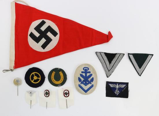 Misc. German WWII Insignia, Stickpins and Flag