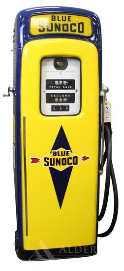 Martin & Schwartz/Wayne Model 80 Gas Pump Restored in Blue Sunoco Gasoline