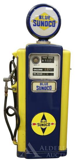 Wayne 100-B Gas Pump Restored in Blue Sunoco Gasoline