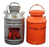 Phillips 66 Motor Oil & Gulf Refining Company 5 Gallon Oil Cans (2)