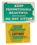 Keep Pennsylvania Beautiful & PA Lottery Sign