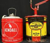 Pennzoil Hand Pump Grease Oil Can & Kendall Gas Can