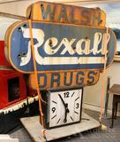 Rexall Drug Store Sign with Clock