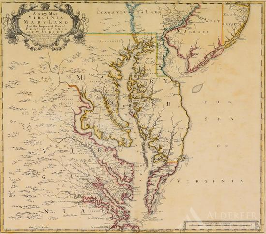 Map of Virginia, Maryland, Pennsylvania and New Jersey by John Senex--1719