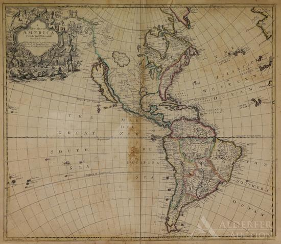 Map North and South America by John Senex--1719