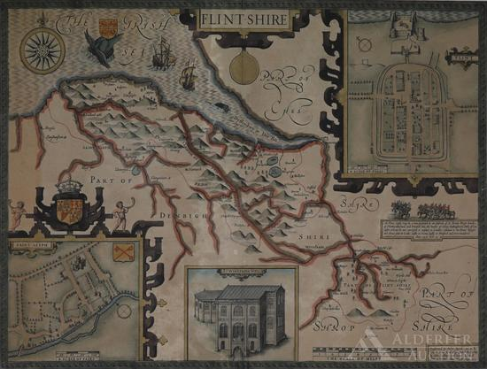 Map of Flintshire, England by John Speed--1612