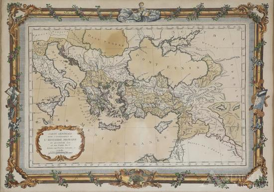 Map of the Eastern Mediterranean and Black Sea Areas by Claude Buy De Mornas--1762