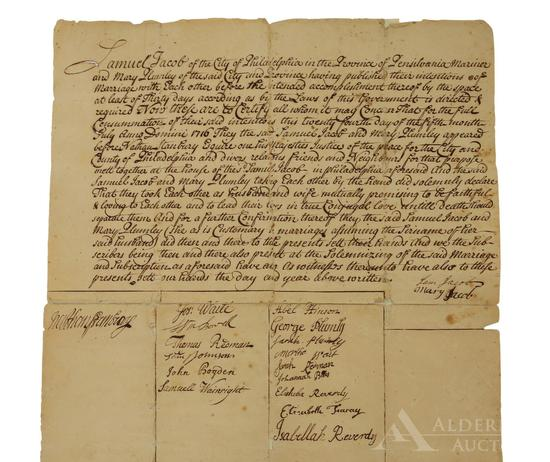 Quaker Marriage Certificate-Philadelphia 1716