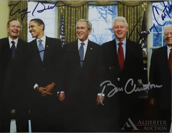 Autographs of 5 Past United States Presidents On One Photograph