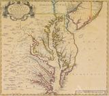Map of Virginia, Maryland, Pennsylvania and New Jersey by John Senex--1719