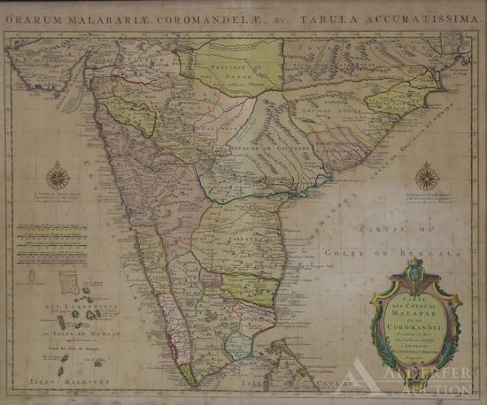 Map of India and Ceylon by Guillaume de Lisle--1742