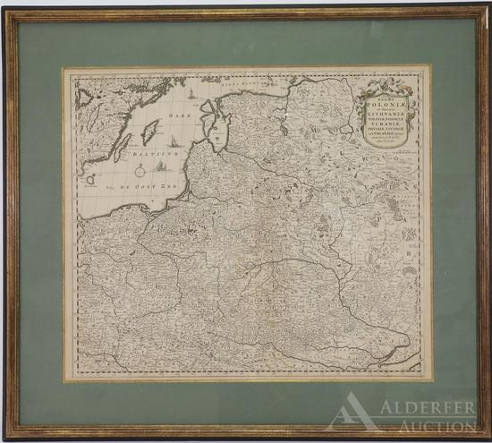 Map of Poland, Baltics and Sections of Russia by Frederick De Wit--c.1680