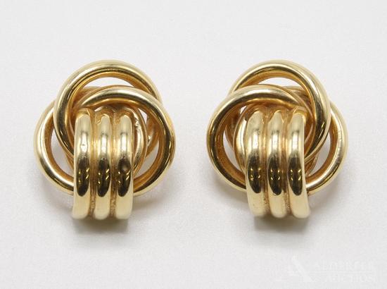 14KY Gold Knocker Look Knot Earrings
