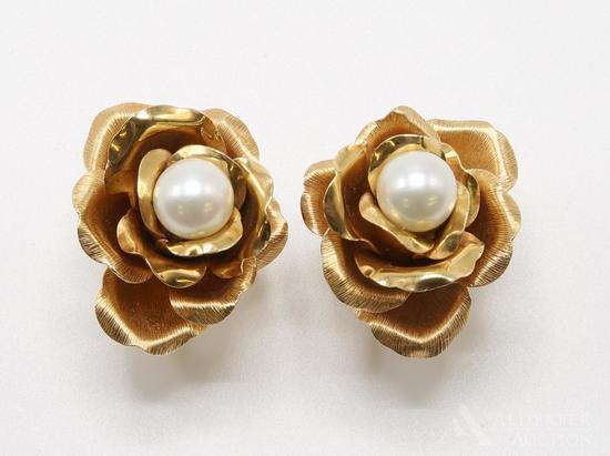 14KY Pearl Rose Earrings