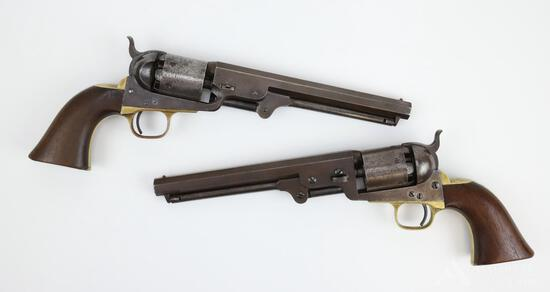 Pair of Presentation Colt Model 1851 Navy Revolvers Housed In Original Pommel Holsters Presented to
