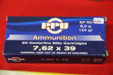 1 Box of 20, PPU, 7.62x39 123 gr SPRN