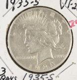 1935-S 3 RAYS PEACE DOLLAR