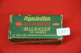 1 Box of 50, Remington Kleanbore 22 Short