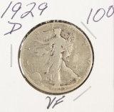 1929-D WALKING LIBERTY HALF DOLLAR - VF