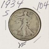 1934-S WALKING LIBERTY HALF DOLLAR - VF