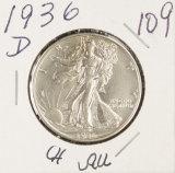 1936-D WALKING LIBERTY HALF DOLLAR - AU