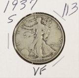 1937-S WALKING LIBERTY HALF DOLLAR - VF