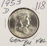 1953-D FRANKLIN HALF DOLLAR - BU