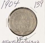 1904 - NEW FOUNDLAND 50 CENTS - VF+