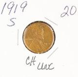1919-S LINCOLN CENT - CH UNC