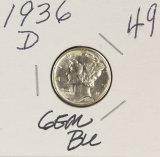 1936-D MERCURY DIME - BU - GEM
