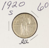 1920-S STANDING LIBERTY QUARTER - AU