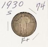 1930-S STANDING LIBERTY QUARTER - F+