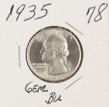 1935 - WASHINGTON QUARTER - GEM BU