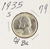 1935-S WASHINGTON QUARTER - GEM BU