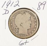1912-D BARBER HALF DOLLAR - G+