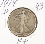 1919-D WALKING LIBERTY HALF DOLLAR - F+